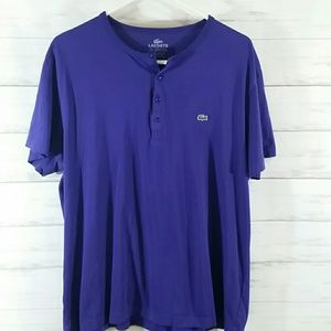 Men's Lacoste short sleeve henley purple/7